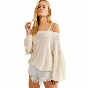Free People Sistine Hacci Pearl Cold Shoulder Top